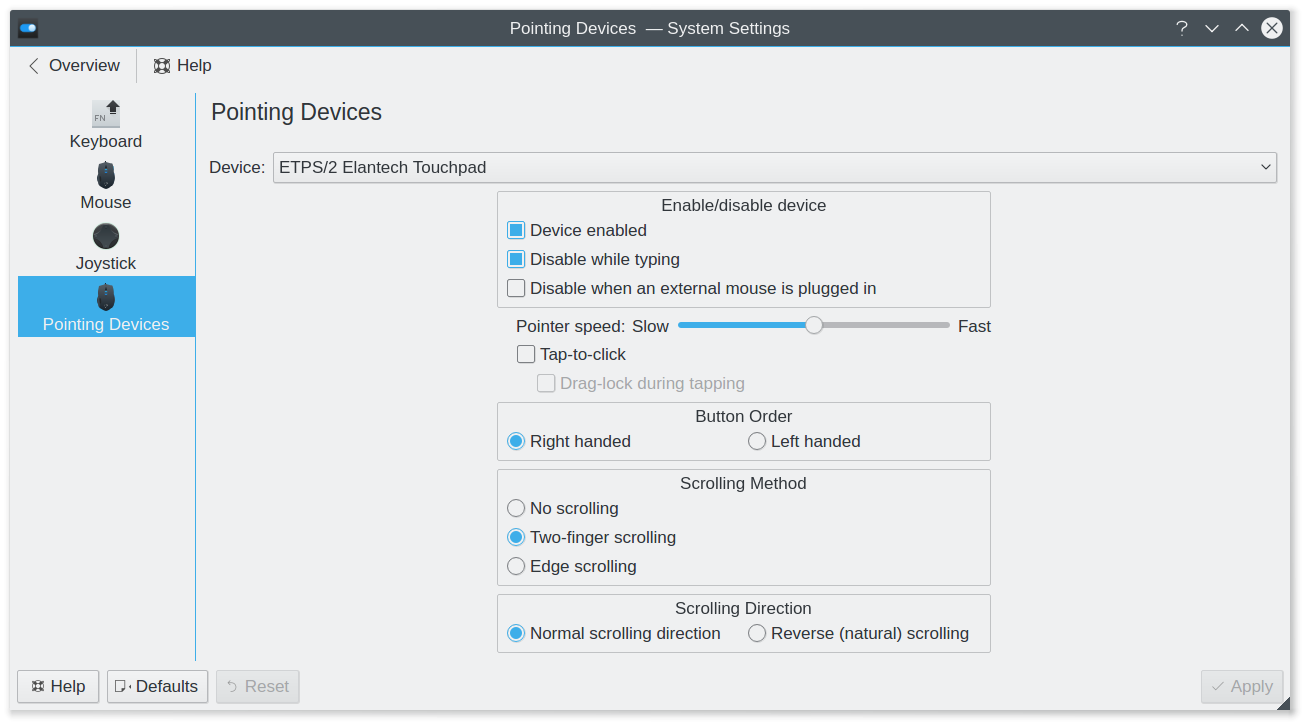 KCM - Touchpad settings